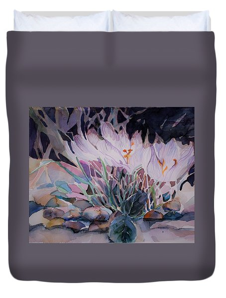 Duvet Cover featuring the painting Crocuses by Mindy Newman