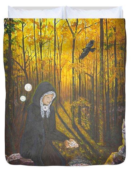 Crone Goddess Keridwen - Samhain Duvet Cover