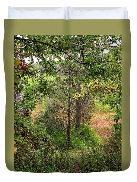 Crooked Creek Woods Duvet Cover by Kimberly Mackowski