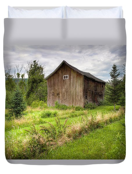 Duvet Cover featuring the photograph Crooked Old Barn On South 21 - Finger Lakes New York State by Gary Heller