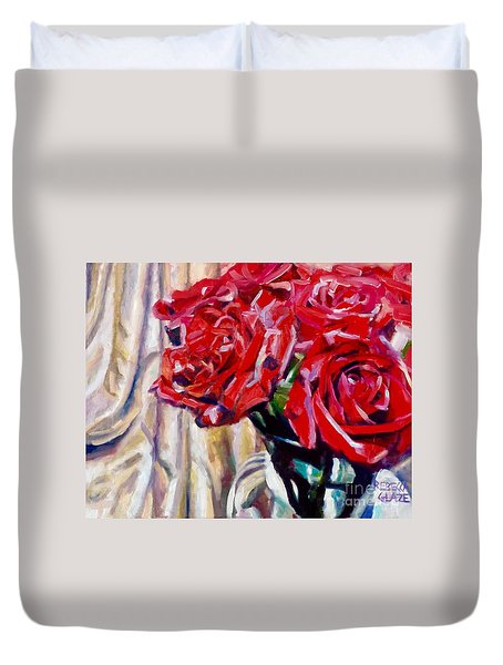 Duvet Cover featuring the painting Crimson  Petals by Rebecca Glaze
