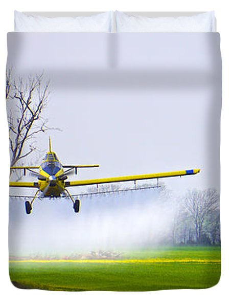Precision Flying - Crop Dusting 1 Of 2 Duvet Cover by Charlie Brock