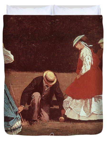 Croquet Scene Duvet Cover by Winslow Homer