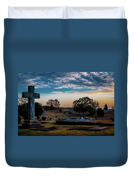 Cross At Sunset Duvet Cover