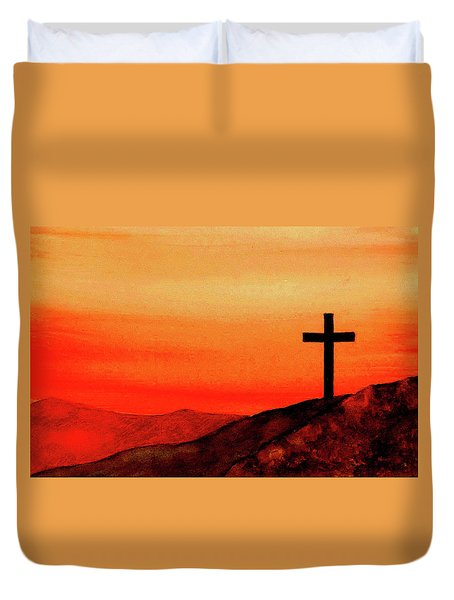 Cross At Sunset Duvet Cover by Michael Vigliotti