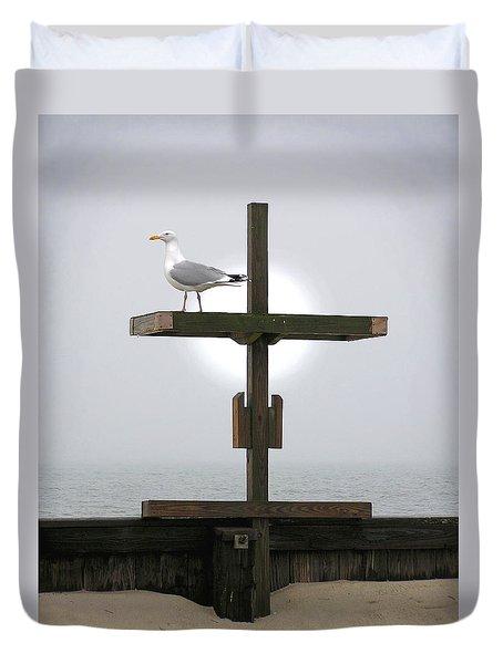 Cross At West Dennis Beach Duvet Cover