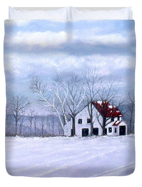 Duvet Cover featuring the painting Cross Country by Karen Zuk Rosenblatt