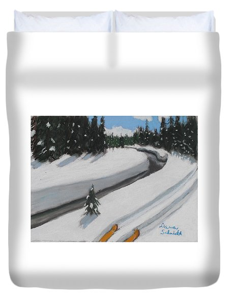 Cross Country Skiing Lone Star Geyser Trail In Yellowstone Nat. Park Duvet Cover