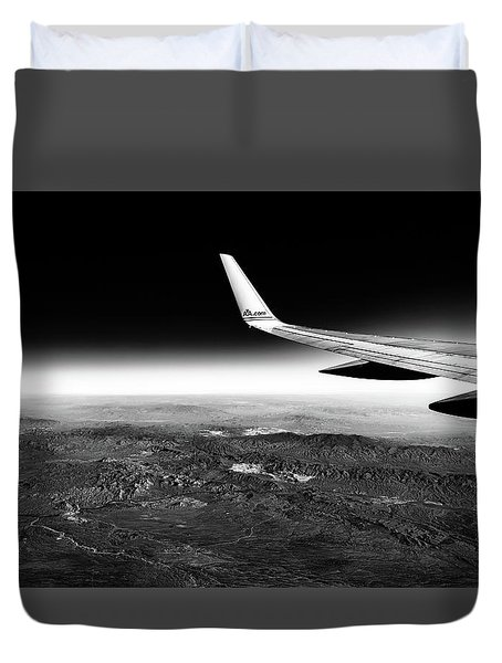 Duvet Cover featuring the photograph Cross Country Via Outer Space by T Brian Jones