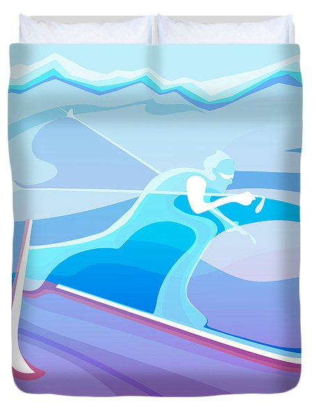 Cross County Skier Abstract Duvet Cover