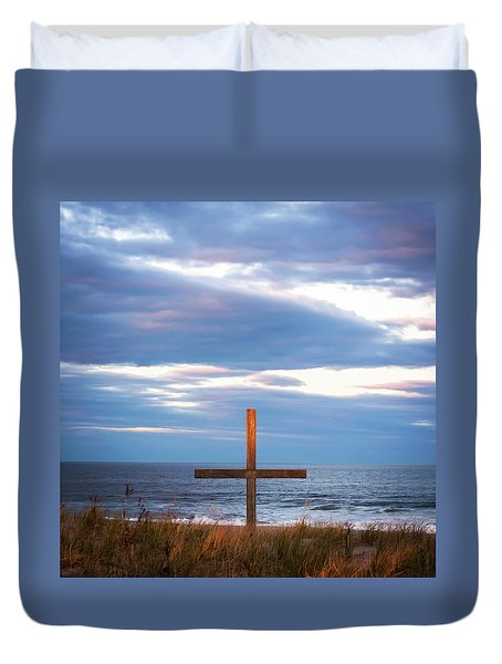 Cross Light Square Duvet Cover by Terry DeLuco