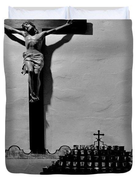 Duvet Cover featuring the photograph Cross Mission San Diego De Alcala by Christine Till