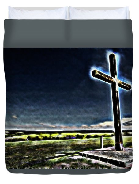 Cross On The Hill Duvet Cover by Douglas Barnard