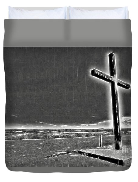 Cross On The Hill V2 Duvet Cover by Douglas Barnard