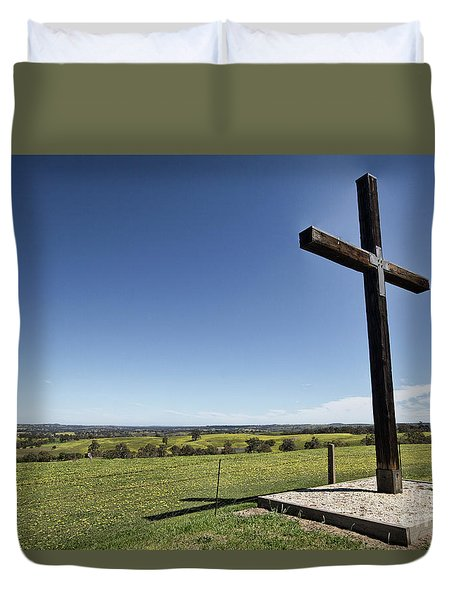 Cross On The Hill V3 Duvet Cover by Douglas Barnard
