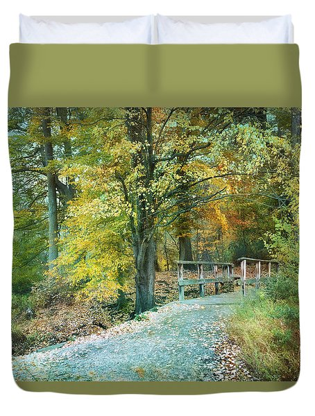 Cross Over The Wooden Bridge Duvet Cover