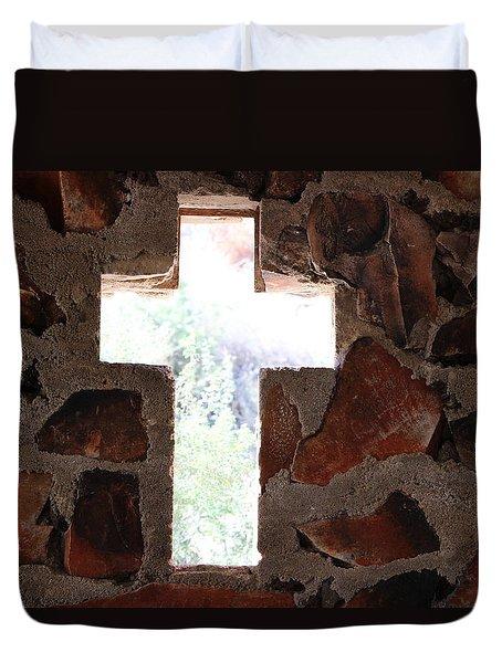 Cross Shaped Window In Chapel  Duvet Cover