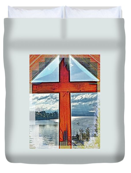 Cross Window Lake View  Duvet Cover