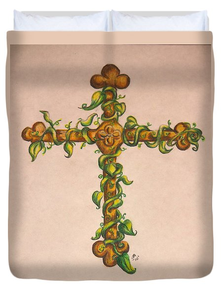 Cross With Ivy Duvet Cover