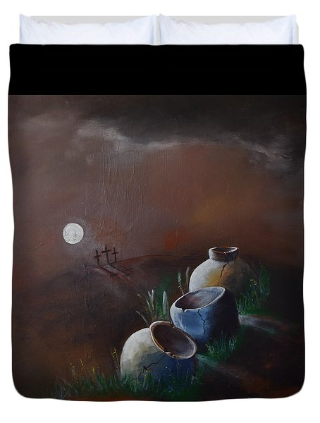 Duvet Cover featuring the painting Crosses And Crocks by Gary Smith