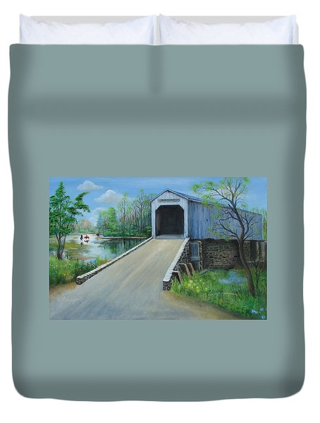 Crossing At The Covered Bridge Duvet Cover