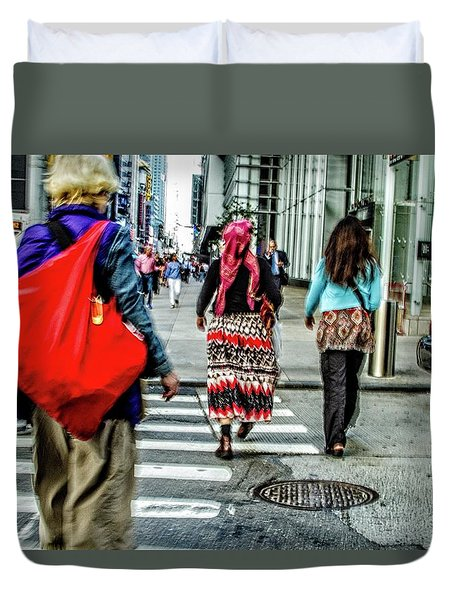 Duvet Cover featuring the photograph Crossing by Karol Livote