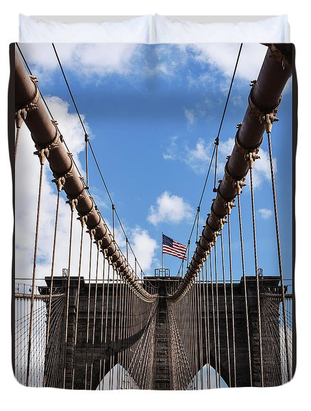 Crossing The Brooklyn Bridge Duvet Cover by Judy Wolinsky