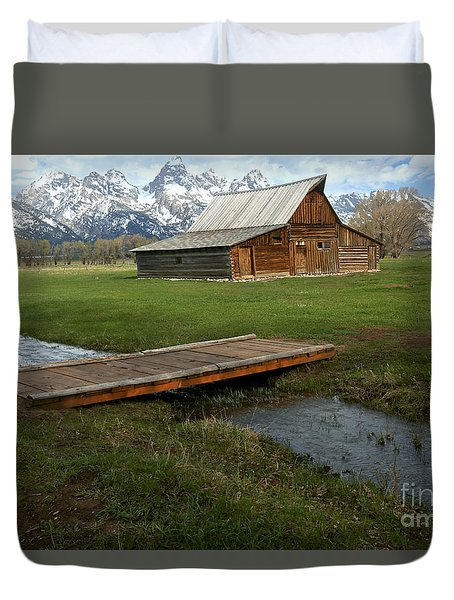 Crossing The Creek Along Mormon Row Duvet Cover by Adam Jewell