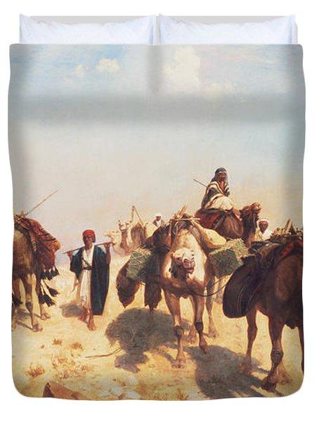 Crossing The Desert Duvet Cover by Jean Leon Gerome