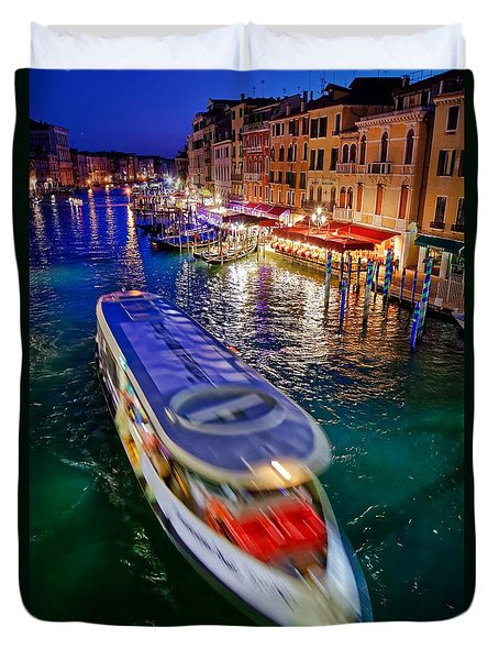 Vaporetto Crossing The Grand Canal At Night In Venice, Italy Duvet Cover