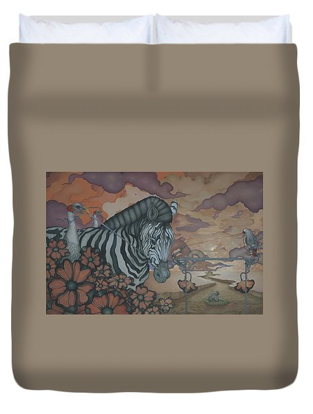 Duvet Cover featuring the painting Crossing The Mara by Andrew Batcheller