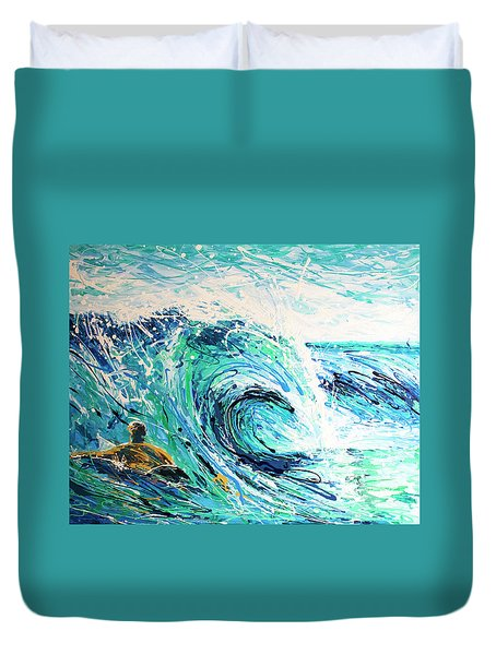 Duvet Cover featuring the painting Crossing The Sandbar by William Love