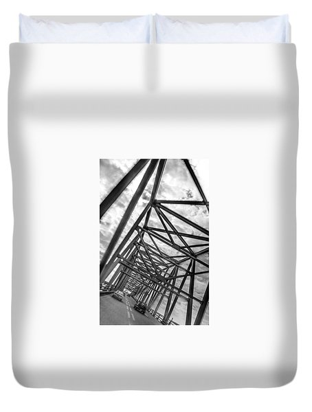 Duvet Cover featuring the photograph Crossing Through The Chesapeake Bay Bridge by T Brian Jones