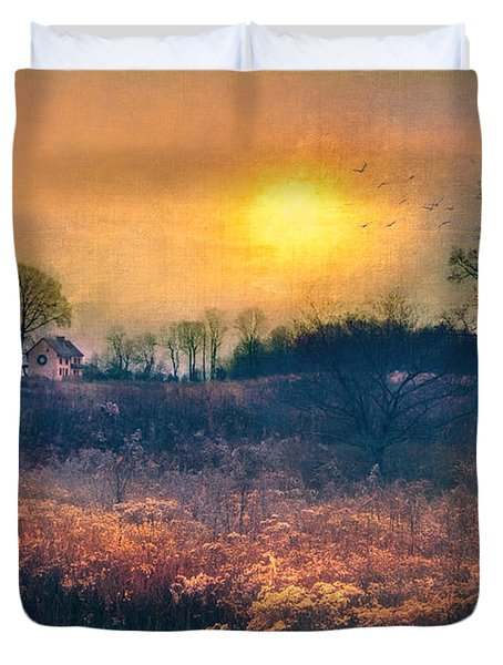 Crossing Through The Meadows Duvet Cover