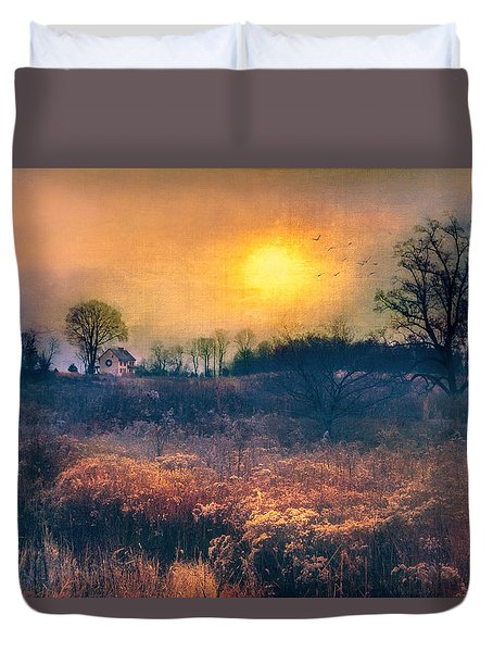 Crossing Through The Meadows Duvet Cover