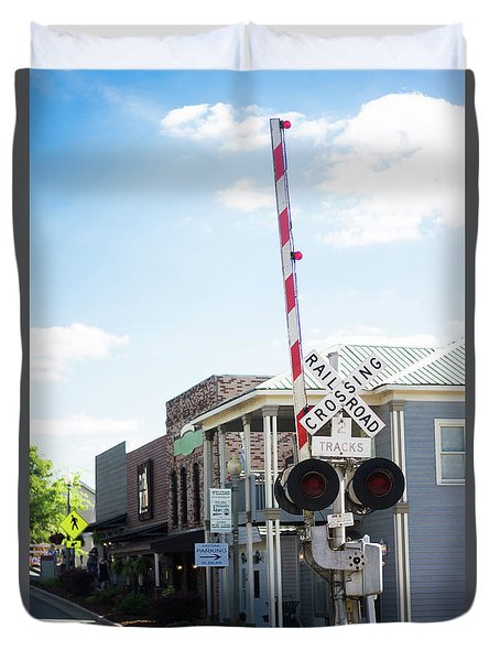Duvet Cover featuring the photograph Crossings In Old Town Helena by Parker Cunningham