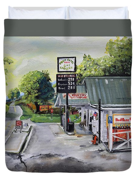 Duvet Cover featuring the painting Crossroads Grocery - Elijay, Ga - Old Gas And Grocery Store by Jan Dappen