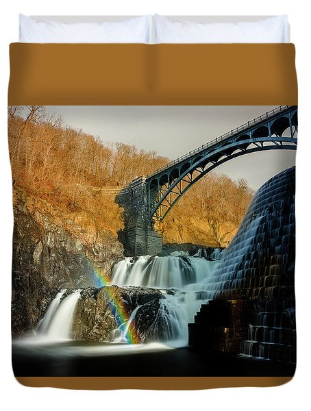 Croton Dam Rainbow Spray Duvet Cover