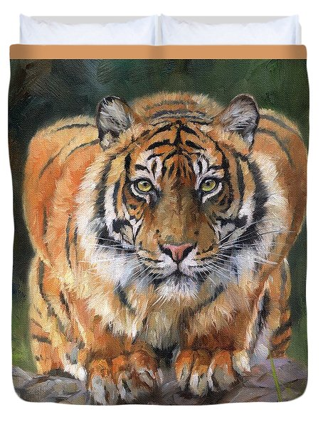 Duvet Cover featuring the painting Crouching Tiger by David Stribbling
