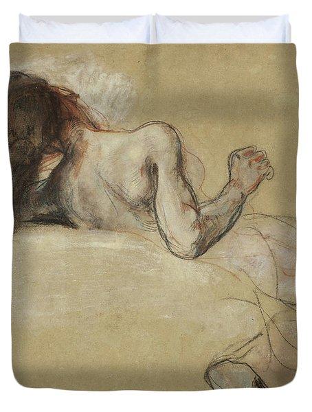 Crouching Woman Duvet Cover