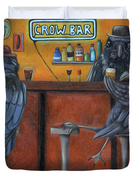 Duvet Cover featuring the painting Crow Bar by Leah Saulnier The Painting Maniac