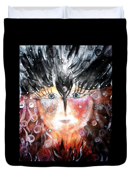 Duvet Cover featuring the painting Crow Child by 'REA' Gallery