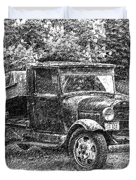 Crow Creek Mine Truck Sketch Duvet Cover
