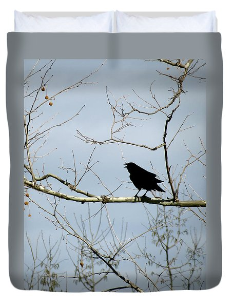 Crow In Sycamore Duvet Cover