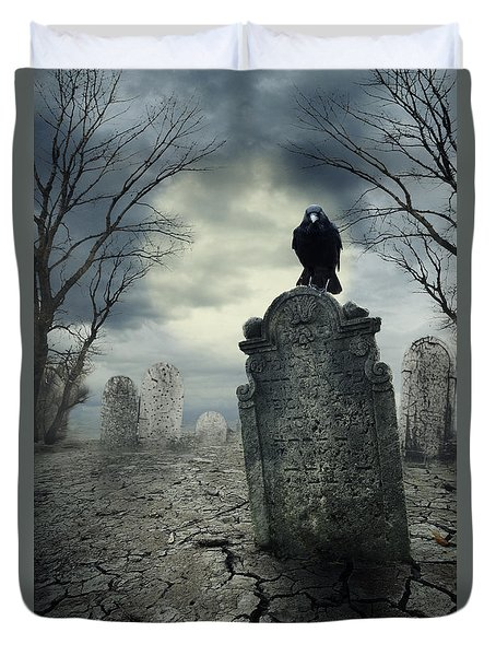 Crow On The Tombstone Duvet Cover