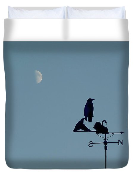 Duvet Cover featuring the photograph Crow On Weathervane by Valerie Anne Kelly