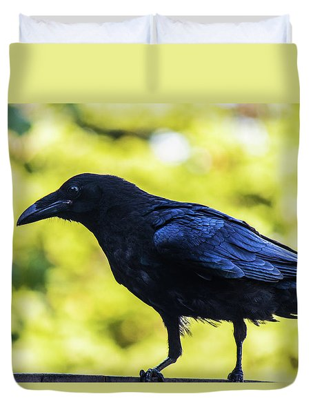Duvet Cover featuring the photograph Crow Perched by Jonny D