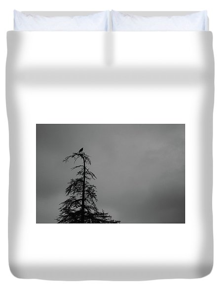 Crow Perched On Tree Top - Black And White Duvet Cover