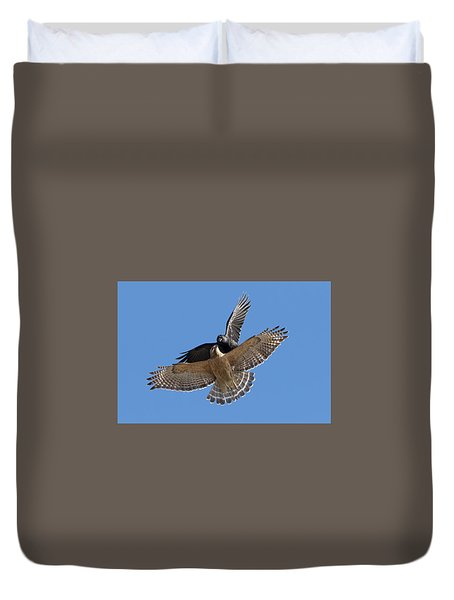 Duvet Cover featuring the photograph Crow Vs Hawk by Mircea Costina Photography