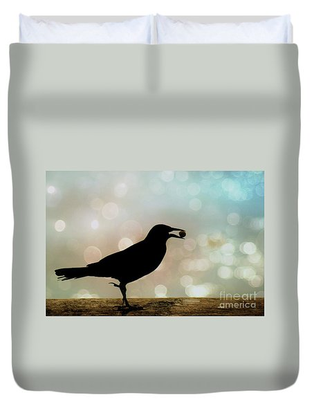 Duvet Cover featuring the photograph Crow With Pistachio by Benanne Stiens